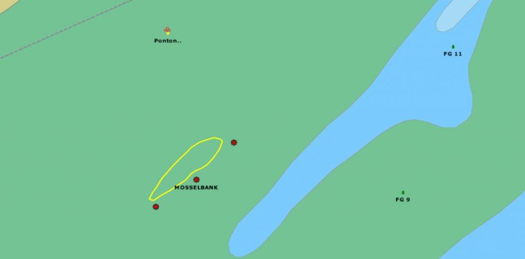 Plaatje met locatie mosselbank bij Richel Waddenzee