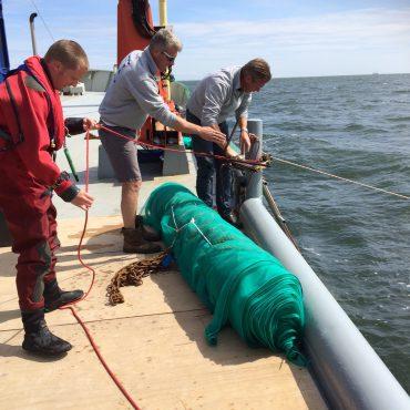 Aanleg materialen voor schelpdieren om scheepswrakken te beschermen in de Waddenzee