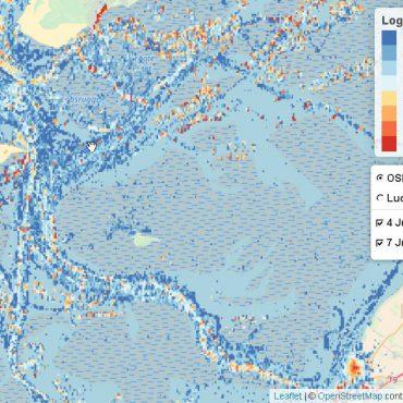 Screenshot van de radardata in de Waddenzee. Het gaat hier om de vaarbewegingen in het gebied tussen Harlingen, Vlieland en Terschelling.