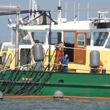 Vissers maken de touwen klaar om in het water te hangen. FOTO: Nico Laros/Waddenunit