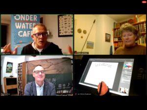 5e Onderwatercafe - gespreksleider, sprekers en cartoonist